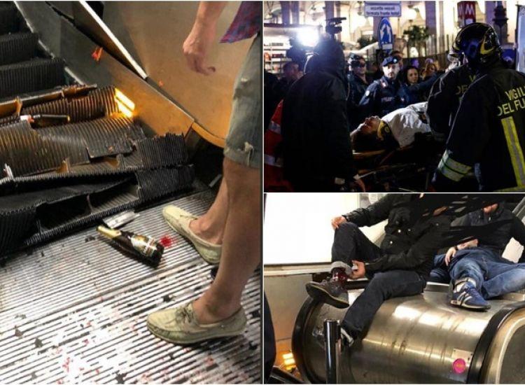 24 φίλαθλοι της Cska οι τραυματίες από την κατάρρευση σκάλας του μετρό της Ρώμης (pics-video)