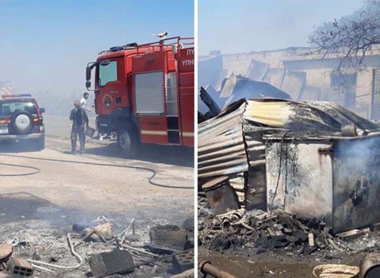 Πυρκαγιά στην Άχνα κατέκαυσε ζώα και υποστατικά (εικόνες)